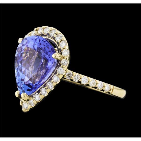 4.01 ctw Tanzanite and Diamond Ring - 14KT Yellow Gold
