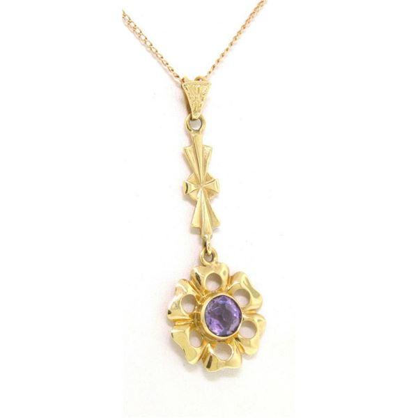 Antique Art Nouveau 14K Gold Old Cut Amethyst Long Dangle Flower Pendant w Chain
