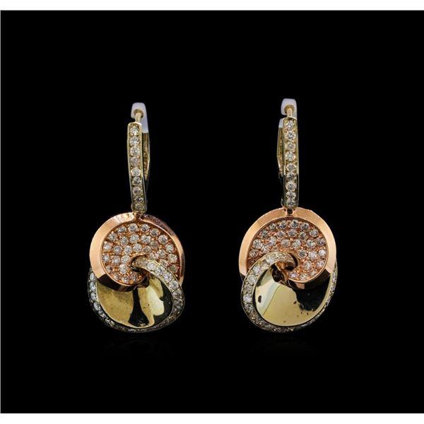14KT Two-Tone Gold 1.53 ctw Diamond Earrings