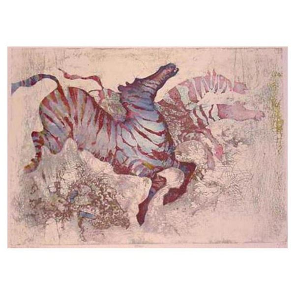 """Edwin Salomon, """"Zebras"""" Hand Signed Limited Edition Serigraph with Letter of Aut"""