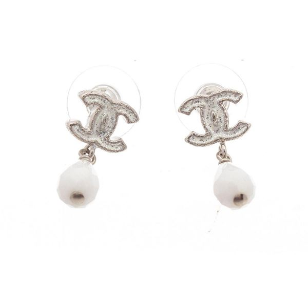 Chanel Silver CC Sparkle Earrings