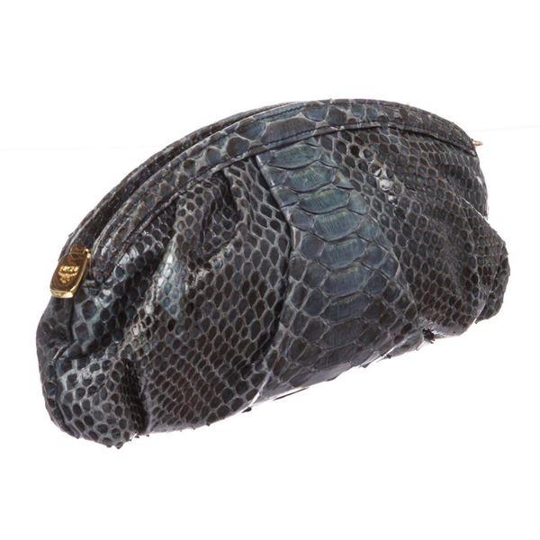 MCM Navy Blue Python Snakeskin Clutch Bag