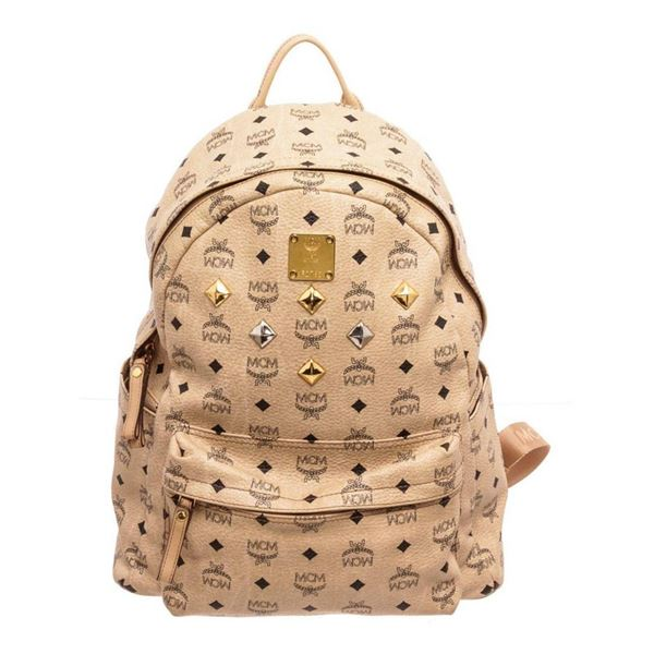 MCM Cream Visetos Coated Canvas GM Backpack