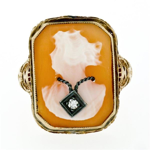 Antique Art Deco 14K Yellow Gold Carved Shell Cameo Diamond Open Filigree Ring
