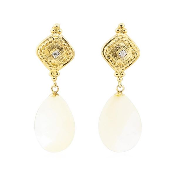 0.04 ctw Diamond and Mother of Pearl Dangle Earrings - 14KT Yellow Gold