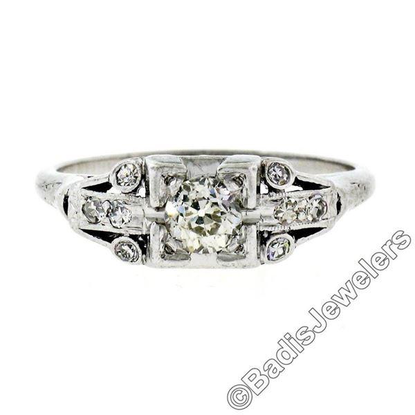 Art Deco Platinum 0.50 ctw Old European Diamond Engagement Ring