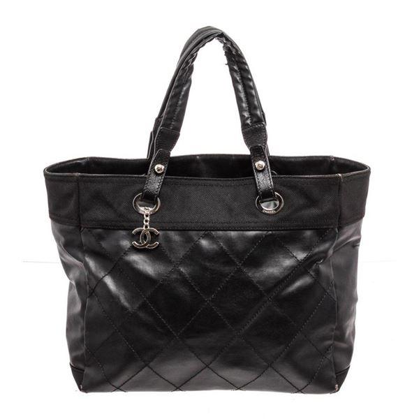 Chanel Black Leather Paris Biarritz Shoulder Bag
