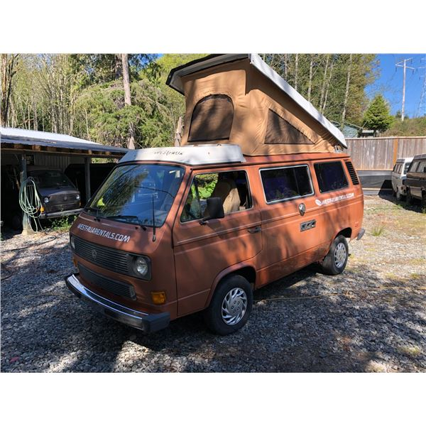 1984 VW WESTFALIA VANAGON FULL CAMPER, BROWN, VIN# WV22B0258EH047703, 36607KM, 4 CYLINDER, 4 SPEED