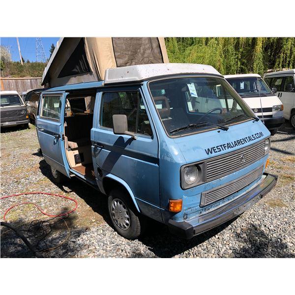 1984 VW WESTFALIA VANAGON CAMPER, BLUE, VIN# WV2ZB0255EH053118, 194699KM, FRIDGE, STOVE, ETC,