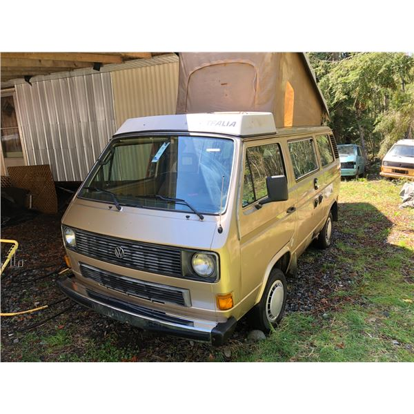 1985 VW WESTFALIA VANAGON GL FULL CAMPER, YELLOW, VIN# WV2ZB0255FH101797, FRIDGE, STOVE, SINK