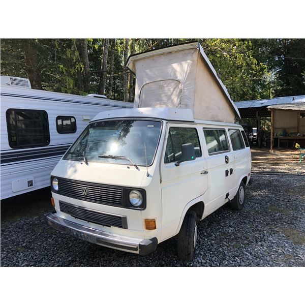 1984 VW WESTFALIA VANAGON, WHITE, VIN# WV27B0254EH083503, 466932KM, 4 SPEED MANUAL, POP UP TOP,