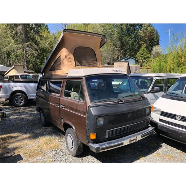 1985 VW WESTFALIA VANAGON CAMPER, BROWN, VIN# WV2ZB0259FH040728, 317290KM, AUTOMATIC, POP UP TOP,