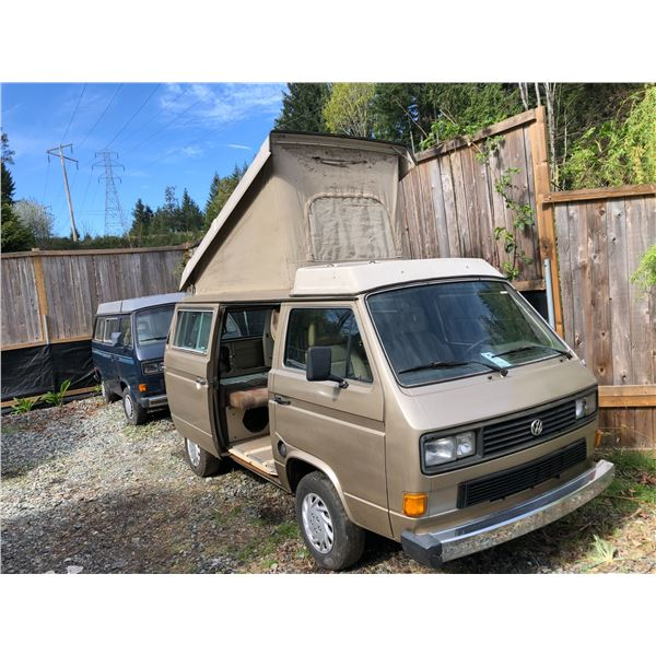 1986 VW WESTFALIA VANAGON GL FULL CAMPER, YELLOW, VIN# WV2ZB0252GH034223, 180484KM, RUST FREE BODY,