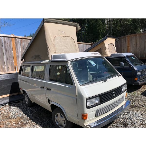 1986 VW WESTFALIA VANAGON GL FULL CAMPER, WHITE VIN# WV2ZB0251GH054043, 208264KM, SUBARU ENGINE