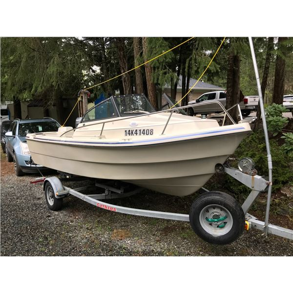 1997 CALKIN BOAT TRAILER VIN# 1CXBT14105706750 C/W 16' SEA CHASER FISHING BOAT, 60HP JOHNSON