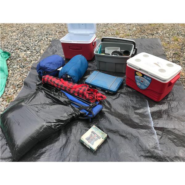CAMPING SUPPLY KIT (PROPANE STOVE, COOLERS, 2 X SLEEPING BAGS, POTS, PLATES, CUTLERY, FOLDING