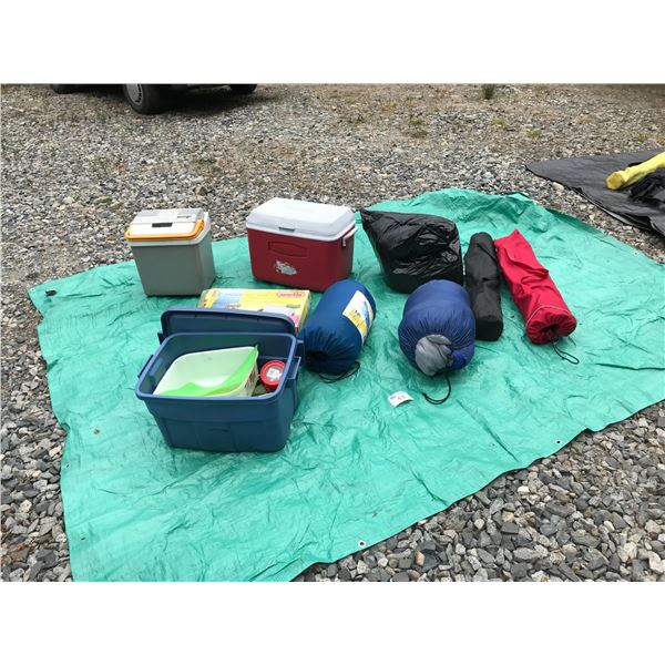 MISC. CAMPING SUPPLIES (MARTIN DELUXE NEW IN BOX PROPANE STOVE, PILLOWS, CAMP CHAIRS, ELECTRIC