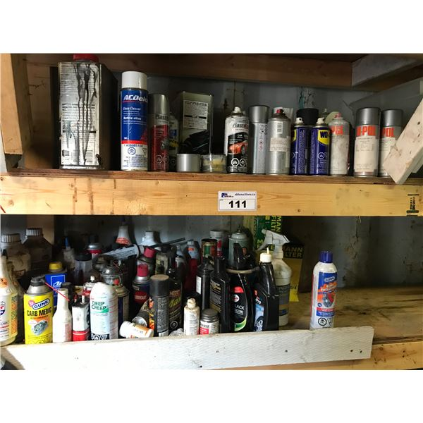 SHELF LOT OF ASSORTED SPRAY CLEANERS, LUBRICANTS & TOUCH UP PAINT *NANAIMO*