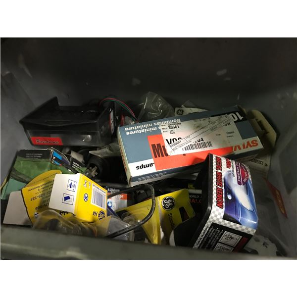 SHELF LOT ASSORTED LIGHT BULBS, FUSES, WIRING, NUTS & BOLTS, FLY WHEELS, CLUTCH & PRESSURE PLATE