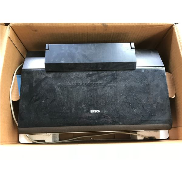 GROUP LOT - EPSON R280 PRINTER, DVD PLAYER, MISC OFFICE EQUIPMENT & PLASTIC TOTES *NANAIMO*