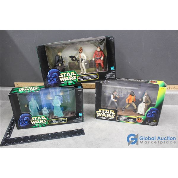 (3) Star Wars Figurines Play Sets in Box