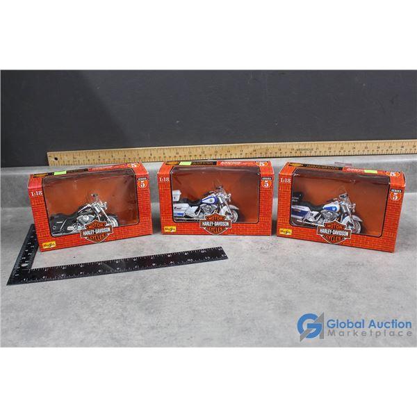 (3) Harley Davidson Motorcycle Models in Box