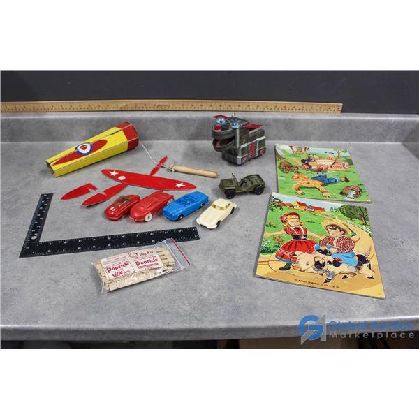 Vintage Puzzles, Cars, Plane & Popsicle Construction Sticks
