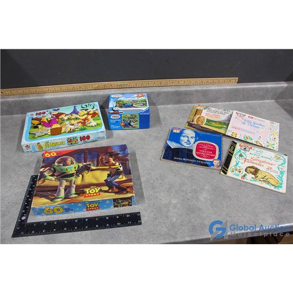 (3) Vintage Puzzles & Records