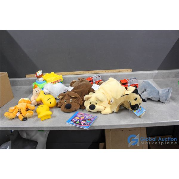 Assorted Soft Toys, Fire Trucks & Goldfish Cracker To Go Containers