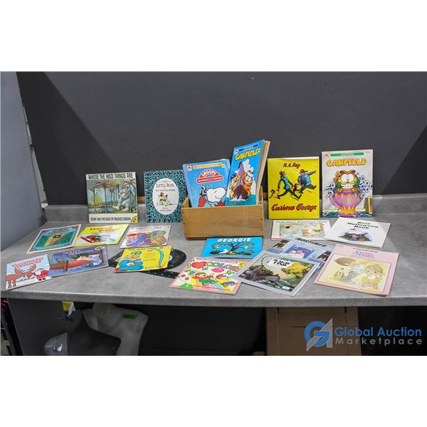 Wooden Crate of Kids Books, Records & Colouring Books