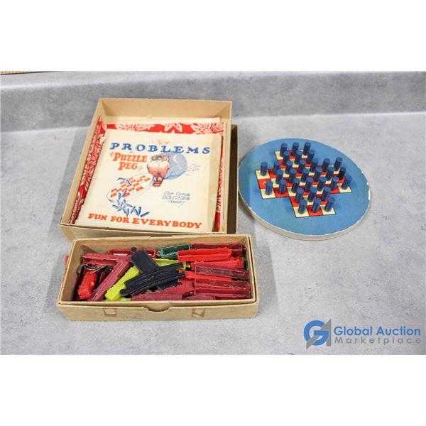 Vintage Peg Puzzle & Cracker Jack Plastic Train Toy