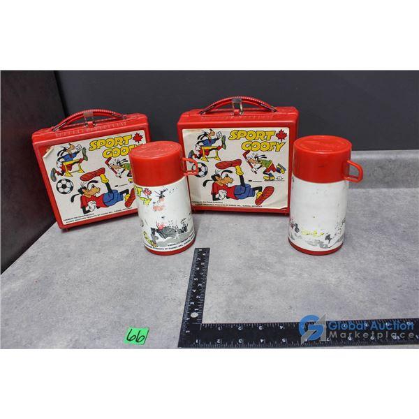 (2) Goofy Plastic Lunch Kit w/Thermos - BID PRICE x2