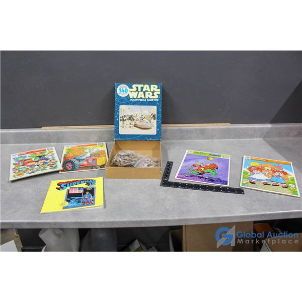 Vintage Puzzles & Superman Book - Star Wars, He-Man, Bugs Bunny