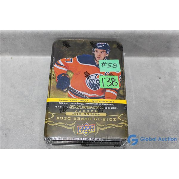 Sealed 2018-19 Upper Deck Series 1 Hockey Cards - Collectors Tin - 12 Packs - Young Guns Rookie Card