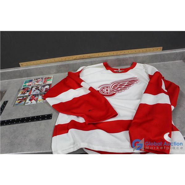 (9) Different Steve Yzerman Hockey Cards & Detroit Red Wings Jersey (size medium men's)