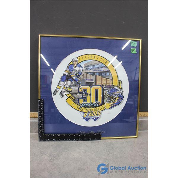 Framed Saskatoon Blades Special Edition Limited Print Celebrating 30 Years of Hockey