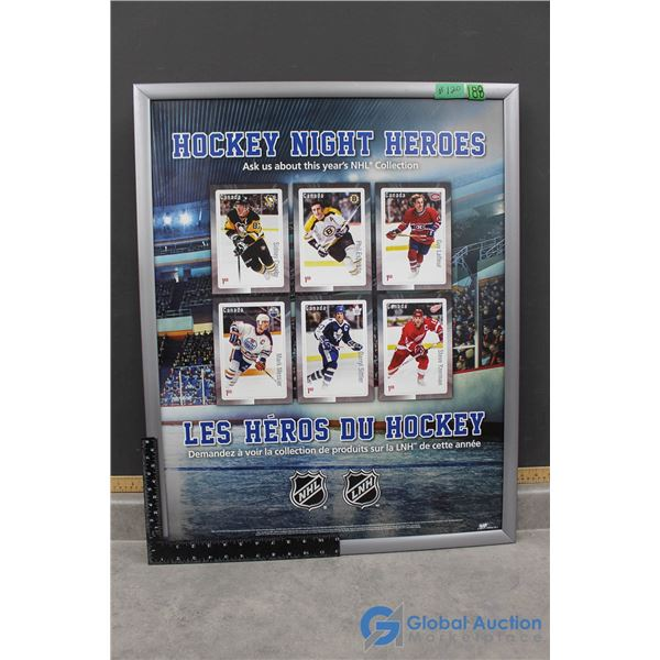 Display Framed Hockey Night Heroes Canada Post Promotional Poster