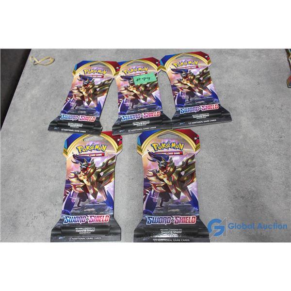(5) Sealed Pokemon Booster Packs - 10 Cards Per Pack - Sword & Shield