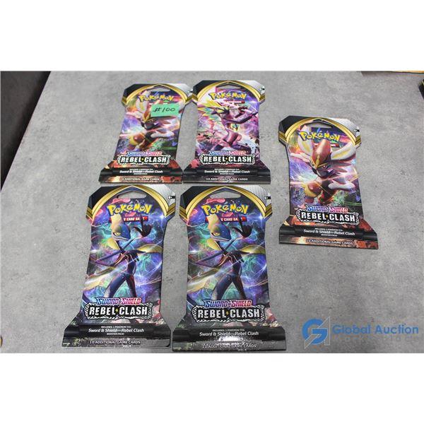 (5) Sealed Pokemon Rebel Clash Booster Packs - 10 Cards Per Pack - Sword & Shield