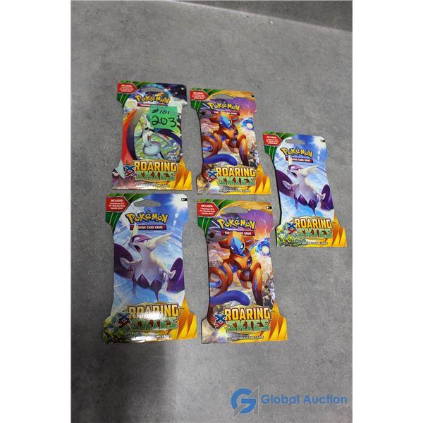 (5) Sealed Pokemon Roaring Skies Booster Packs - 10 Cards Per Pack