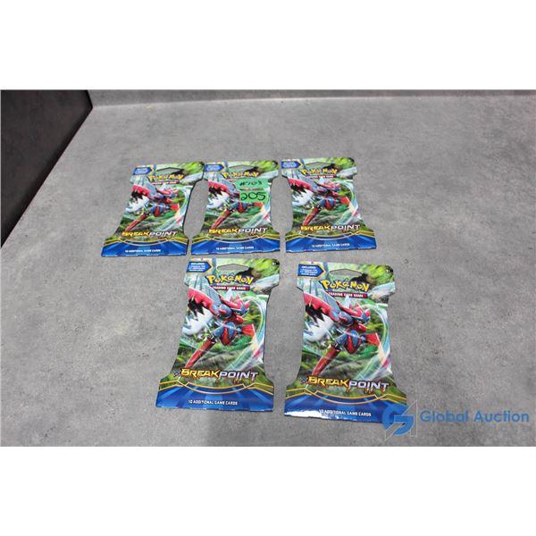 (5) Sealed Pokemon Break Point Booster Packs - 10 Cards Per Pack