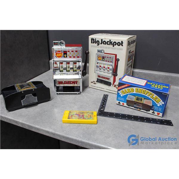 Toy Slot Machine, Card Shuffler in Box & Game