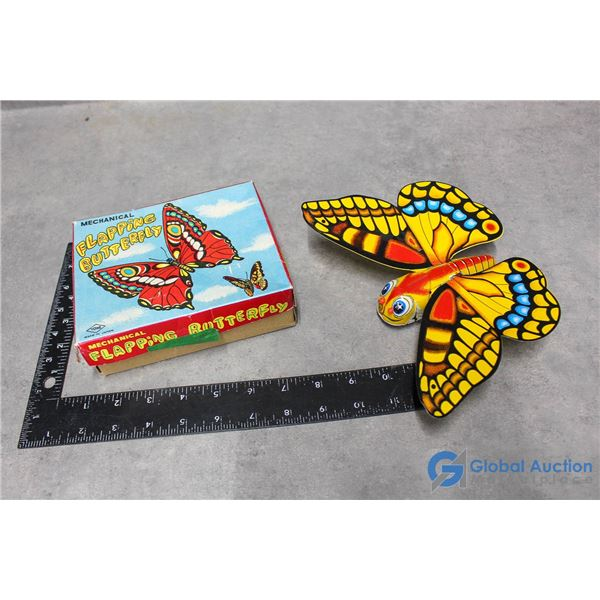 Vintage Flapping Tin Butterfly w/Box