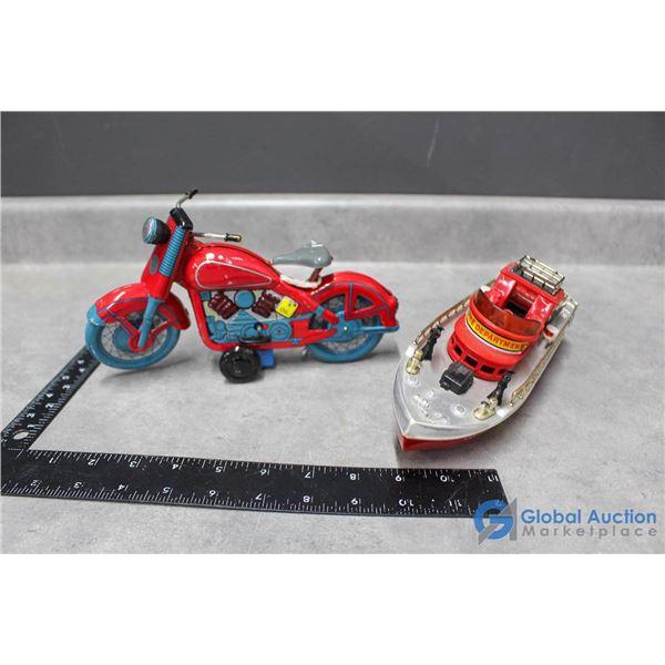 Vintage Tin Motorcycle w/Key & Plastic Boat