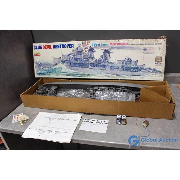"""1975 NOS Vintage Model Kit """"Blue Devil Destroyer"""" - 3ft Long - Motorized"""