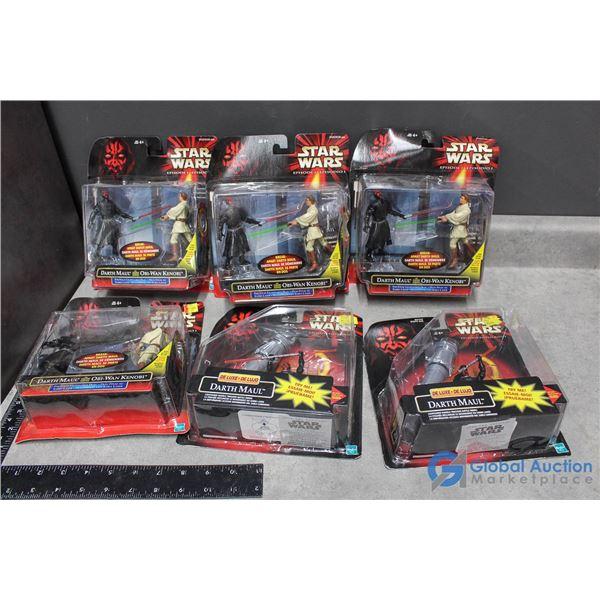 (6) Star Wars Ep. 1 Darth Maul & Obi Wan Toys In Package