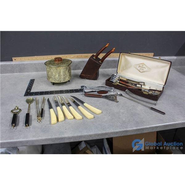 Bar Tools, Mid-Century Ice Bucket & Steak Knives Set