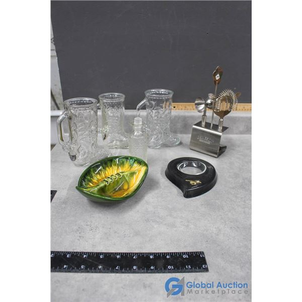 Glass Boot Mugs, Ashtrays & Irish Whiskey Barware in Stand