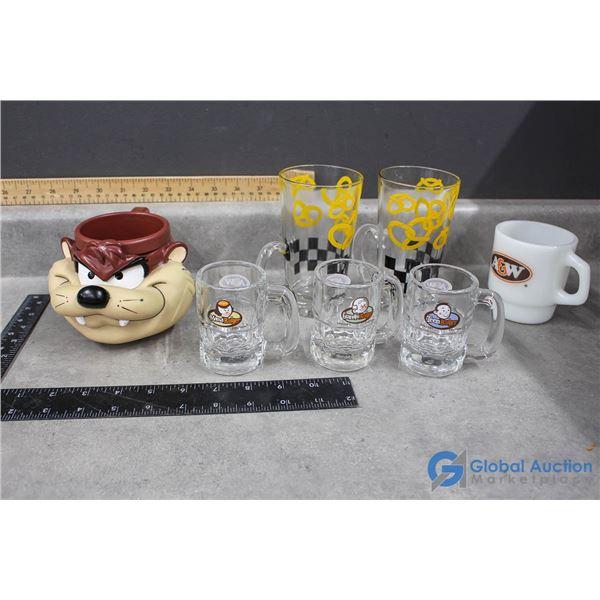A&W Glasses (Including Mini Mugs), (2) Mugs & (1) Taz Mug