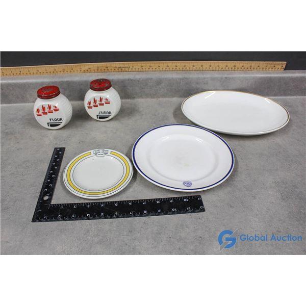 Milk Glass Flour/Sugar Shakers & (3) Collector Plates